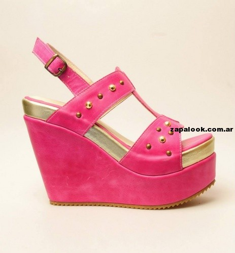sandalias con plataformas fucsia Green and Black 2014