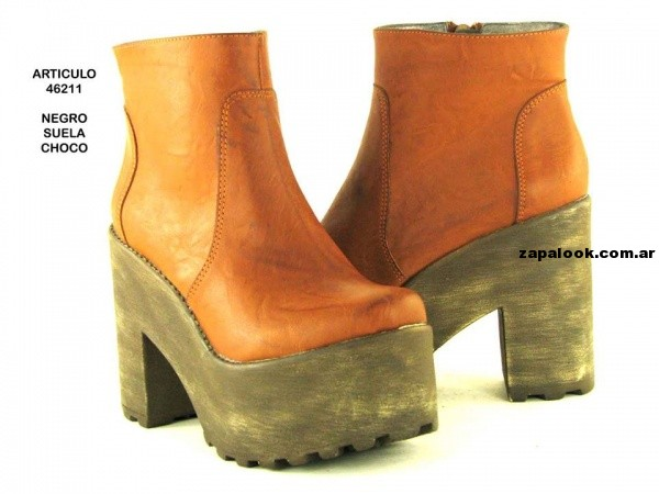 botinetas con base de madera  orange fashion shoes invierno 2014