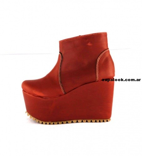 botinetas rojas con bases altas  orange fashion shoes invierno 2014