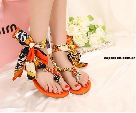 tendencia -  sandalias naranja romanas primavera verano 2015