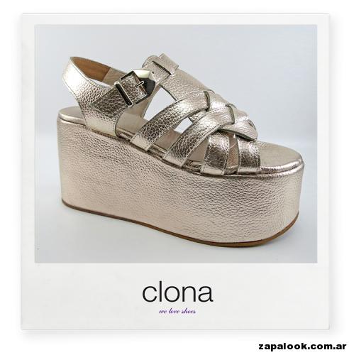 plataforma plateada Calzado Clona primavera verano 2015