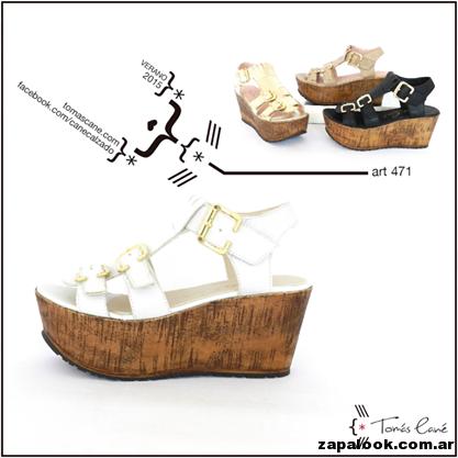 sandalia taco chino blancas Tomas Cane primavera verano 2015
