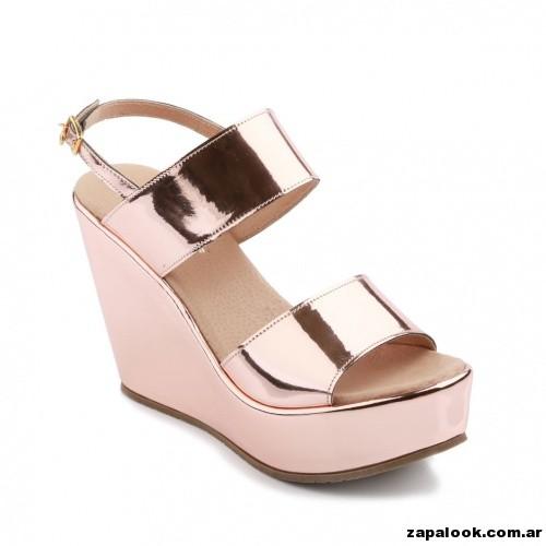 sandalias metalizadas rosadas Ferraro primavera verano 2015