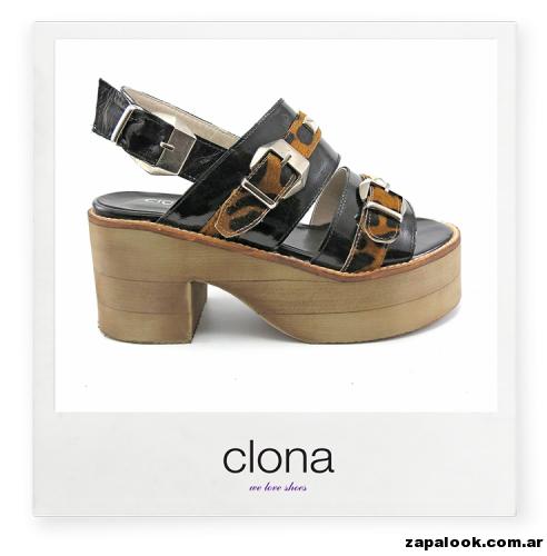 sandalias negra y animal print Calzado Clona primavera verano 2015