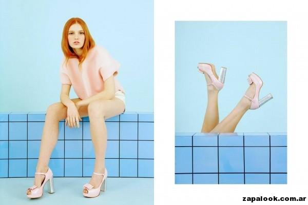 zapatos para fiestas rosa y plateado Pepe cantero primavera verano 2015