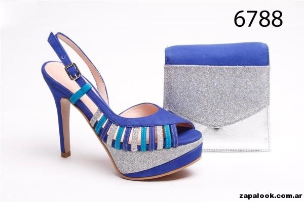 Sandalias para fiestas gama azules y plateado Alfonsa Bs As verano 2015