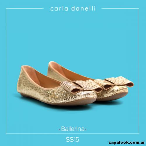 balerinas doradas con lentejuelas - Carla danelli verano 2015
