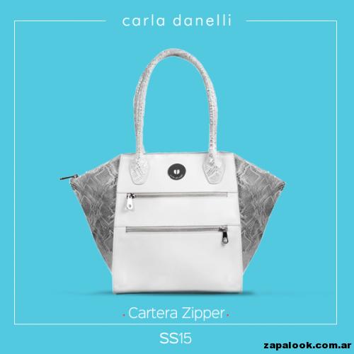 cartera blanca y plateada - Carla danelli verano 2015