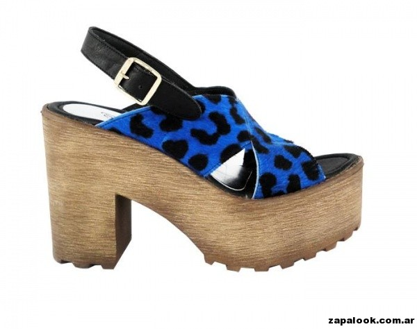 sandalia estampa animal print plataformas de madera Orange shoes primavera verano 2015
