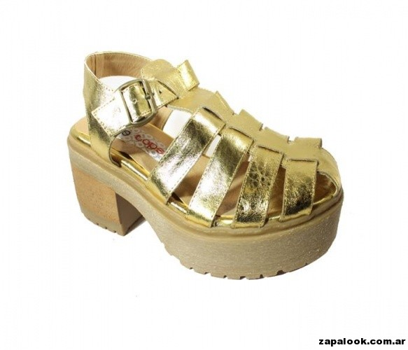 sandalia franciscanas doradas con taco Tops primavera verano 2015