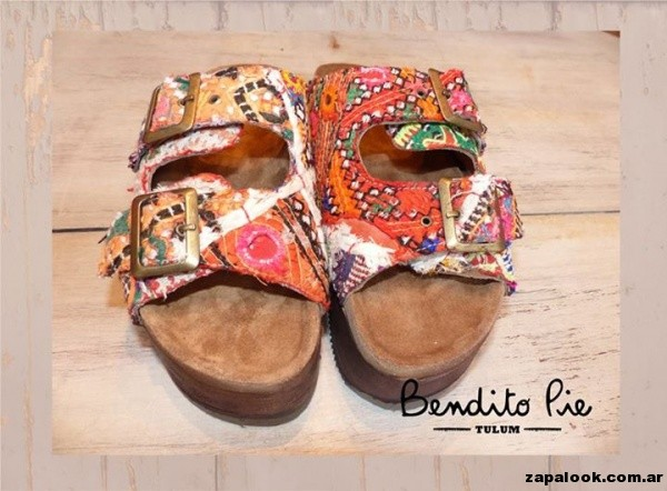 sandalias bordadas y forradas  by Bendito Pie Verano 2015