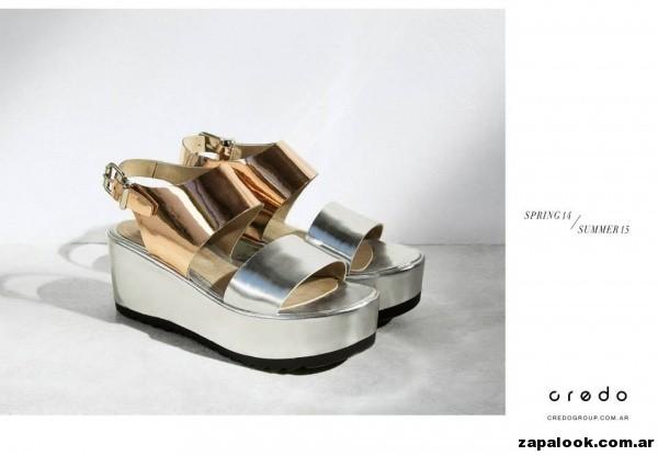 sandalias metalizadas Credo primavera verano 2015