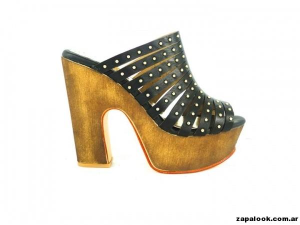 sandalias negras plataformas de madera Orange shoes primavera verano 2015