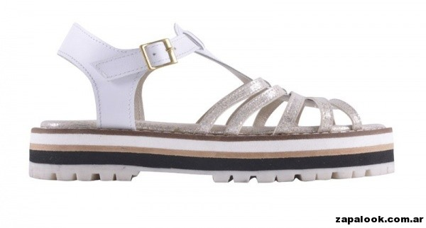 sandalias blancas y doradas primavera verano 2015 - America Pie