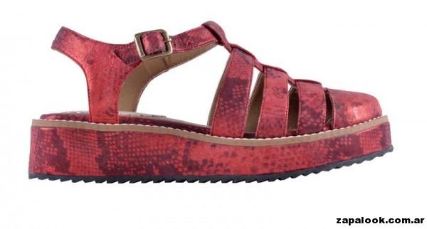 sandalias rojas metalizadas primavera verano 2015 - America Pie