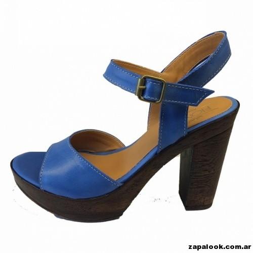 sandalias azules con taco de madera -  Liotta verano 2015
