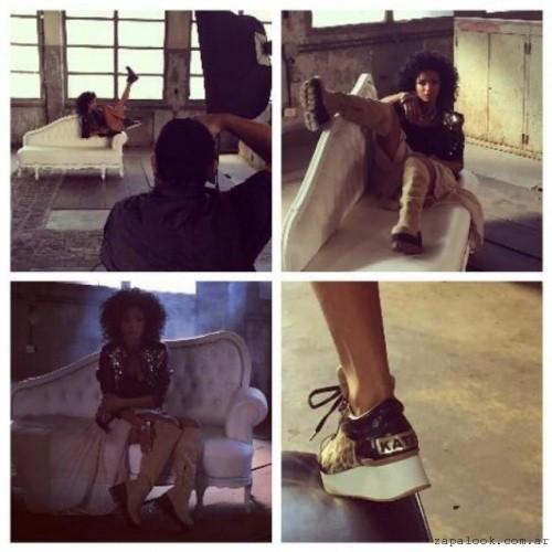 Kate Kuba zapatillas negras y doradas invierno 2015