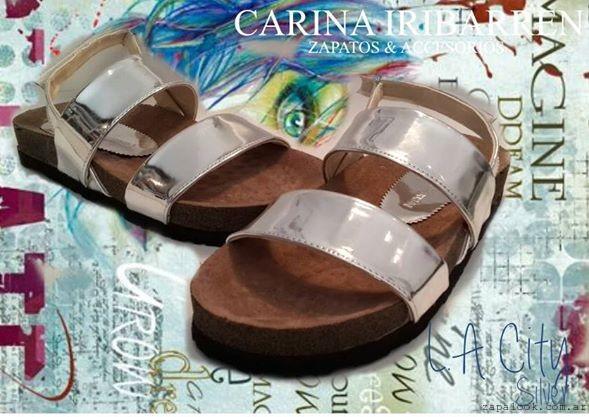 sandalias plateadas carina iribarren