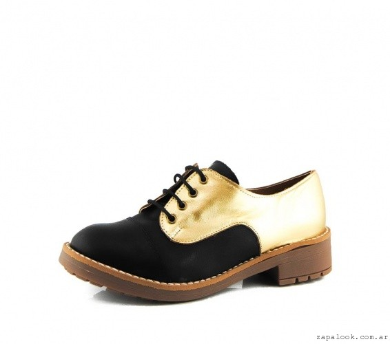 zapatos acordonados negros y dorados La Leopolda invierno 2015