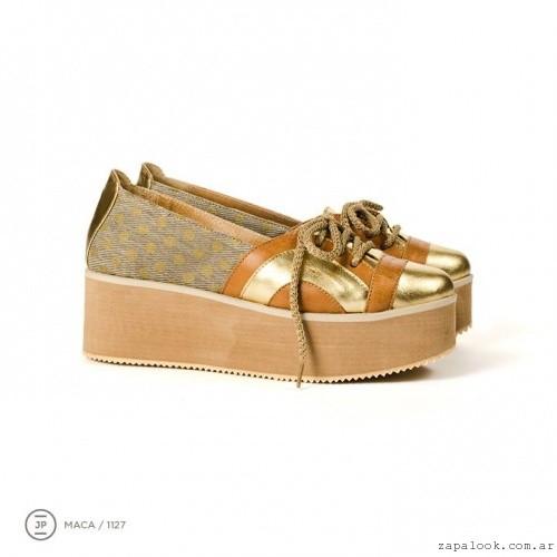 zapatos con base plana dorados invierno 2015 - Juana Pascale