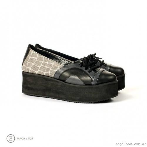 zapatos con base plana negros y grises invierno 2015 - Juana Pascale