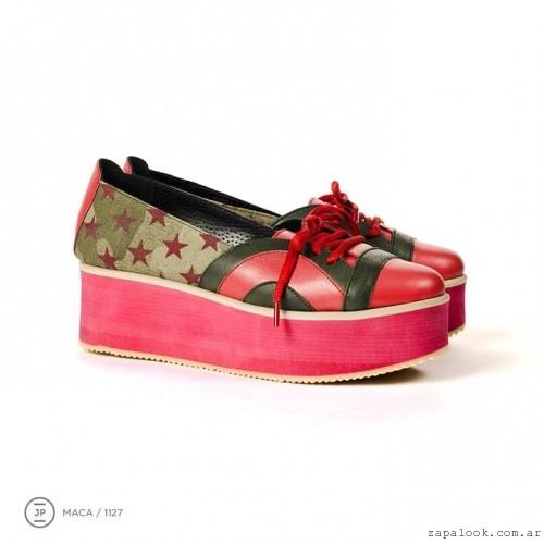 zapatos con base plana rojos invierno 2015 - Juana Pascale