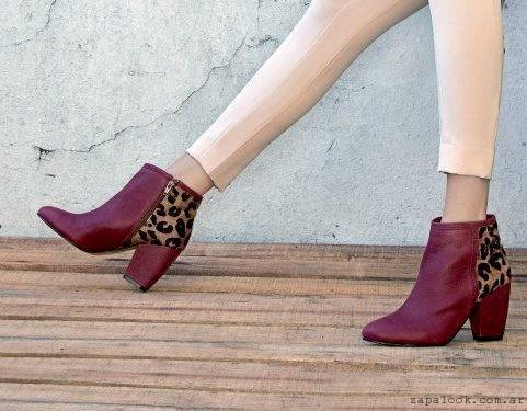 botinetas bordo y animal print  -  zapatos JOW otoño invierno 2015