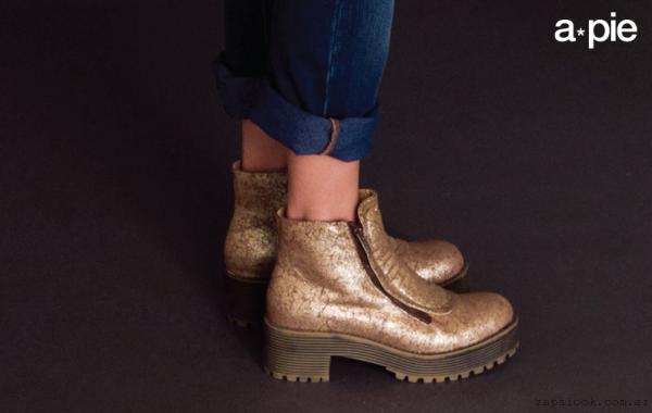 botinetas doradas Zapatos American Pie otoño invierno 2015