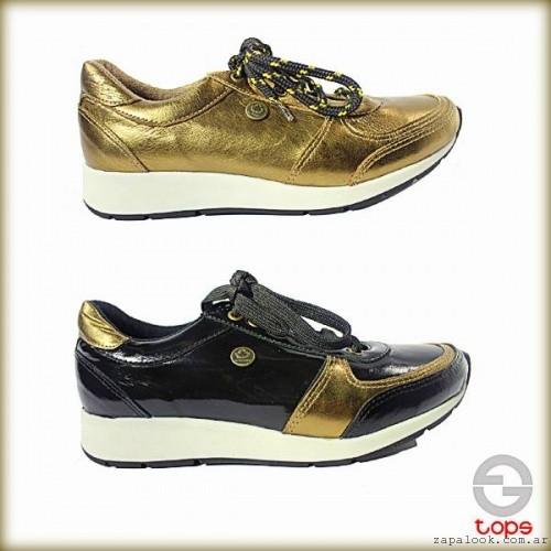 zapatillas doradas con plataformas otoño invierno 2015 TOPS calzados