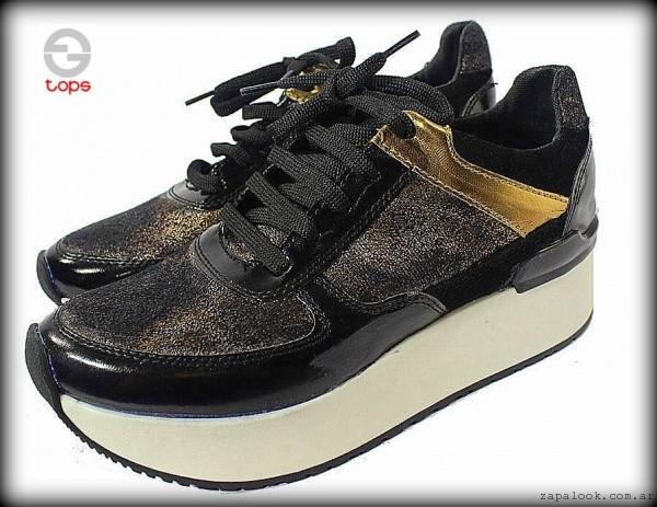 zapatillas metalizadas con plataforma otoño invierno 2015 TOPS calzados