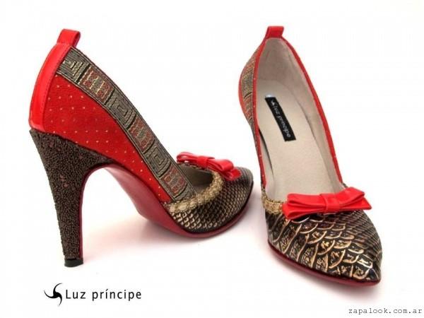zapatos de fiesta rojo y dorado - Luz Principe invierno 2015