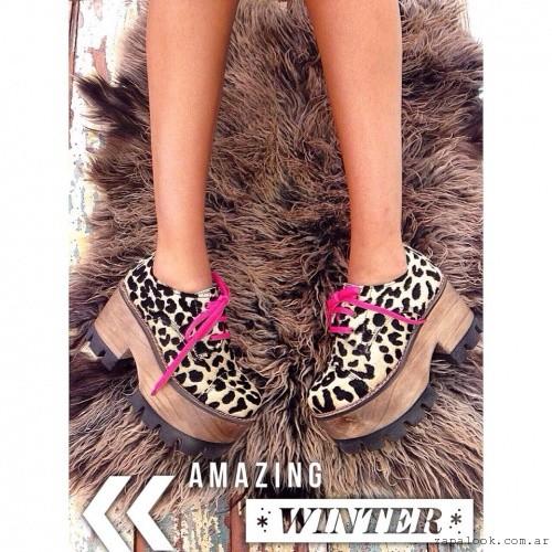 acordonados animal print  - Calzados Las Motas otoño invierno 2015