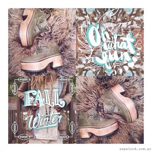 botinetas verde militar  - Calzados Las Motas otoño invierno 2015