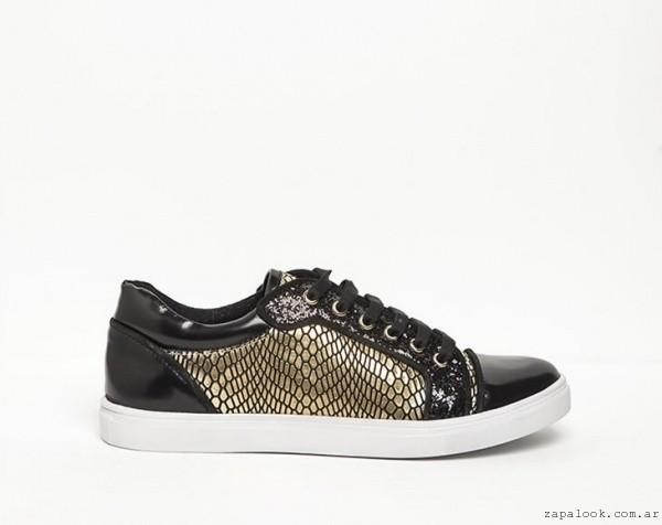 zapatillas negras y doradas  - DONNE calzados otoño invierno 2015