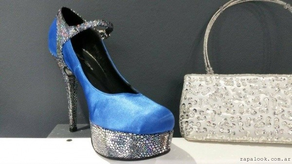 zapato de raso azul con plateado - Lujuria calzados invierno 2015