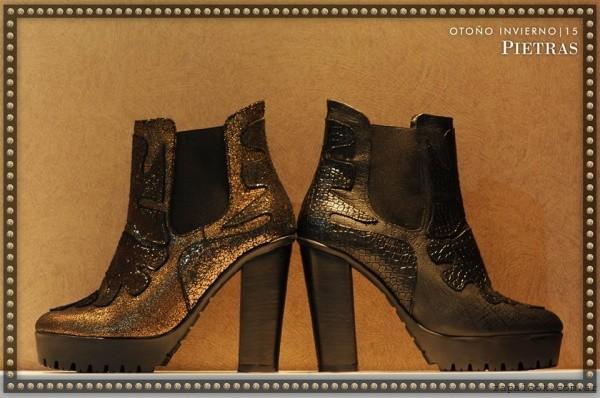 botinetas metalizadas color bronce invierno 2015 - Pietras calzados