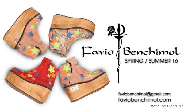Favio Benchimol verano 2016- botinetas coloridas con plataformas de madera