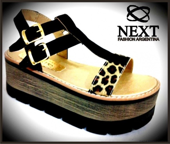 sandalias negras y animal print con base de madera - Next fashion shoes verano 2016