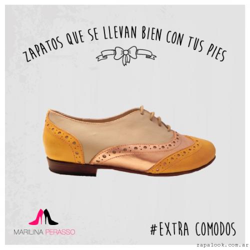 zapatos abotinados de mujer crudo y amarillo Marilina Perasso   invierno 2015