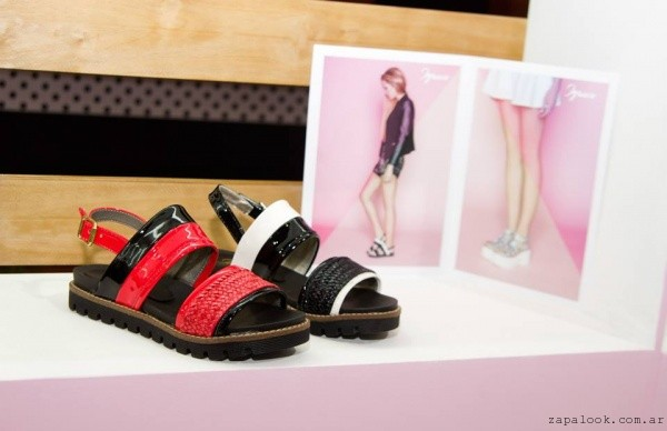 sandalias negras y rojas chatas Ignacia calzados verano 2016