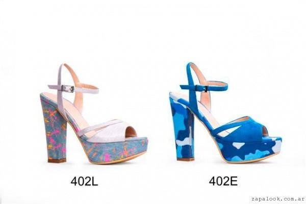 Micheluzzi - calzado de fiesta - sandalia azul estampada verano 2016