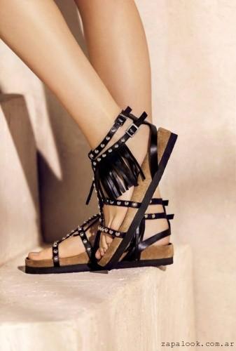 sandalias negras planas \u2013 Calzado Rapsodia verano 2016