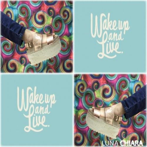 Luna Chiara , sandalias doradas con plataformas primavera verano 2016