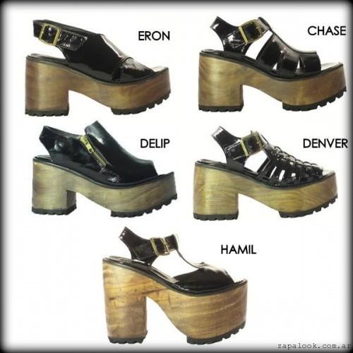Sandalias negras de charol base simil madera - Calzados TOPS verano 2016