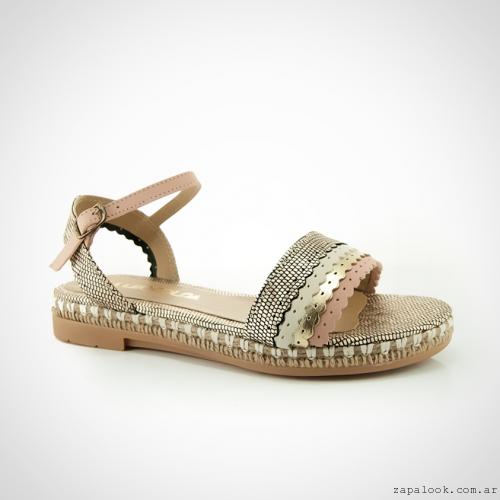 Calzados La Leopolda verano 2016 - sandalias chatitas dorada y rosa
