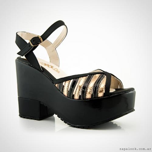 Calzados La Leopolda verano 2016 - sandalias plataforma doradas y negras