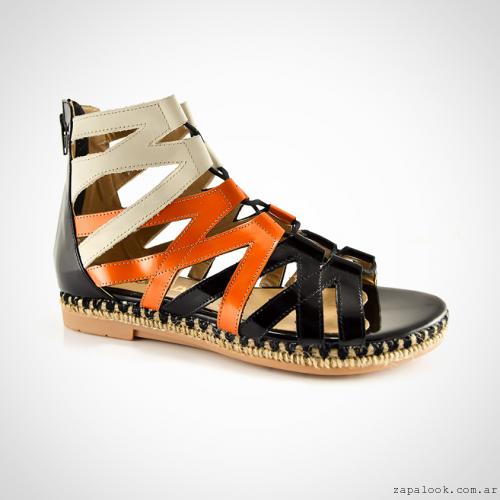 Calzados La Leopolda verano 2016 - sandalias romanas negras y naranjas