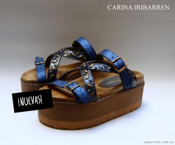 Carina Iribarren - Sandalia azul metalizado  verano 2016