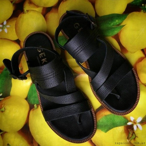 Gekke - sandalias cuero negro verano 2016
