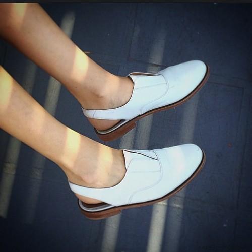 Gekke - zapato planos cuero blanco verano 2016